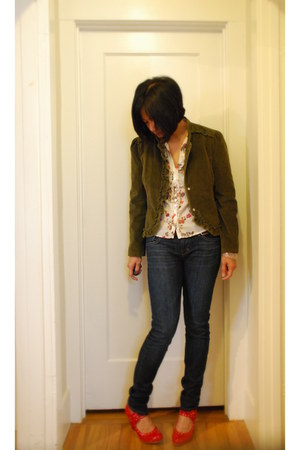 navy joes jeans - army green M&S jacket - ruffled floral Monsoon blouse