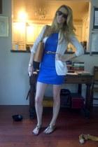 blue H & M dress - black D & G sunglasses - Steve Madden sandals