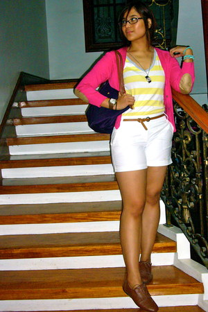 lime green Marks & Spencer shirt - deep purple longchamp bag - white JCrew short