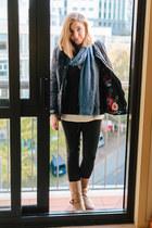navy blue Joules coat - Cole Haan boots - Zara leggings