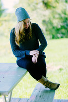 Fossil watch - short tan boots Cole Haan boots - gray beanie H&M hat