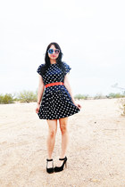 polka dot dress vintage dress - vintage sunglasses - Jeffrey Campbell heels