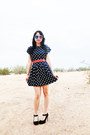 Polka-dot-dress-vintage-dress-vintage-sunglasses-jeffrey-campbell-heels