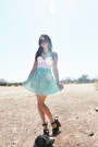 Round-sunnies-ebay-sunglasses-bonne-chance-collections-skirt-vintage-top