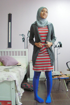 red tramp dress - blue unbranded tights - gray Pop Soda cardigan