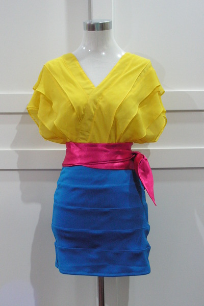 yellow tops blue skirts pink belts quot shop quot by
