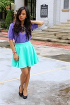 black Grey Avenue skirt - light purple Bazaar top - Forever 21 pumps