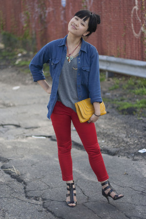 blue madewell shirt - mustard JustFab bag - red Mango pants - heather gray H&M t