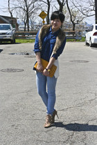 light blue Just Usa jeans - blue madewell shirt - mustard JustFab bag - camel Ju