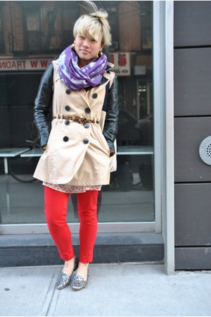 black h&m diy coat - peach Forever 21 shirt - purple American Apparel scarf