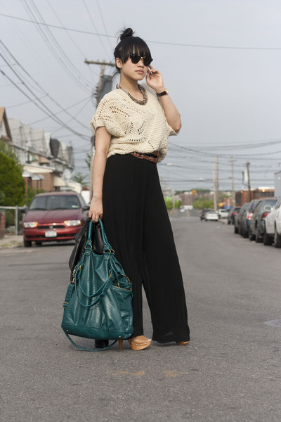 teal Urban Outfitters bag - dark brown madewell belt