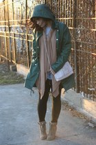 light brown seychelles boots - forest green American Apparel jacket - black Amer