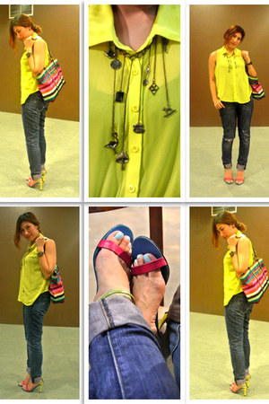 necklace - hot pink rainbow tote coach bag - yellow Forever 21 blouse