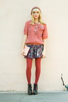salmon knitted thrifted sweater - coral opaque Urban Outfitters tights