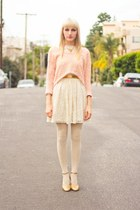 eggshell lace Urban Outfitters dress - peach knitted Urban Outfitters sweater