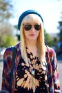 Deep-purple-plaid-urban-outfitters-blouse-teal-crocheted-handmade-hat