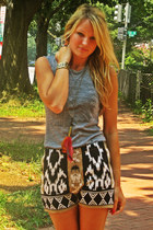 navajo Urban Outfitters shorts - feather El Quetzal necklace - Chaser t-shirt -