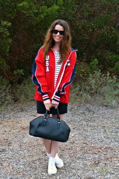 canvas Superga sneakers - Olympics jacket - black H&M skirt
