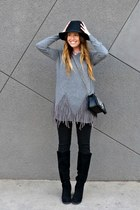 fringed Lookbook Store sweater - knee high Shoedazzle boots - fedora Target hat