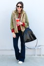 Flared-forever-21-jeans-utility-zara-jacket-striped-zara-sweater