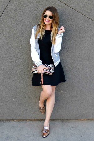 varsity Charlotte Russe jacket - black H&M dress - metallic Forever 21 loafers