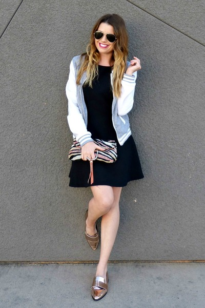 varsity Charlotte Russe jacket - black H&M dress - metallic Forever 21 loafers