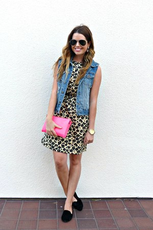 denim Forever 21 vest - leopard print banana republic dress