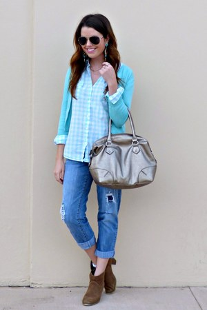 gingham Old Navy blouse - ankle boots Marshalls boots