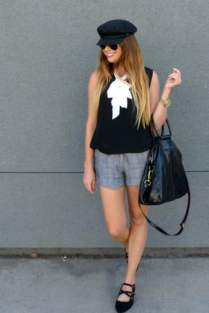 bow Target blouse - trousers Forever 21 shorts - black Forever 21 flats