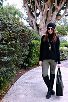 beanie H&M hat - turtleneck Loft sweater - olive and black H&M leggings