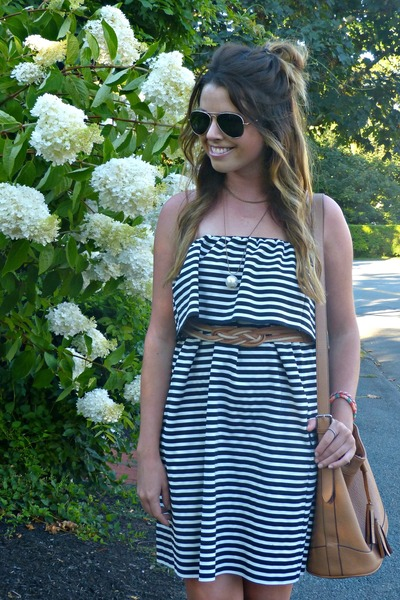 striped Zara dress - bucket Old Navy bag - aviator Forever 21 sunglasses
