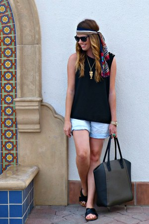 tote H&M bag - denim Gap shorts - chiffon Forever 21 top - slides H&M sandals