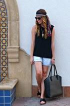 tote H&M bag - denim Gap shorts - chiffon Forever 21 top - slides H&M sandals