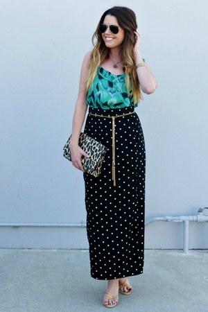 polka dot Forever 21 skirt - leopard print H&M bag