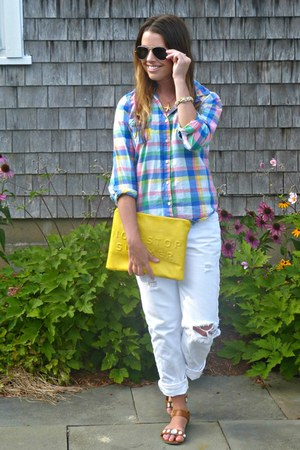 boyfriend jeans Gap jeans - Old Navy shirt - clutch Zara bag