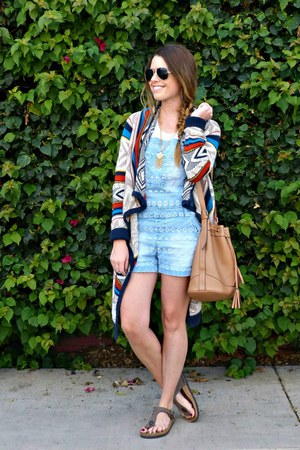 aztec Old Navy sweater - overalls kensie jeans - bucket Old Navy bag