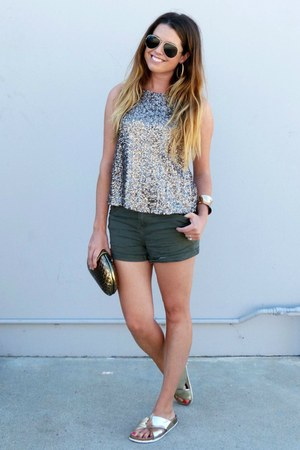 sequin Lovers and Friends top - utility H&M shorts - metallic Target sandals