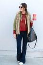 Flared-forever-21-jeans-utility-zara-jacket-striped-zara-sweater