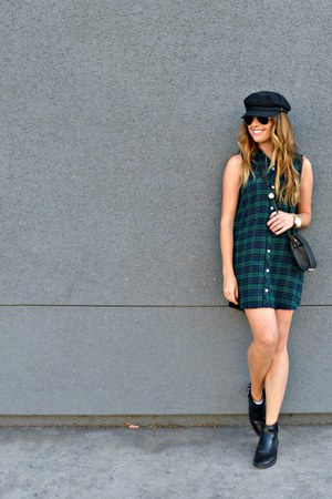 plaid Forever 21 dress - ankle boots H&M boots - newsboy brixton hat