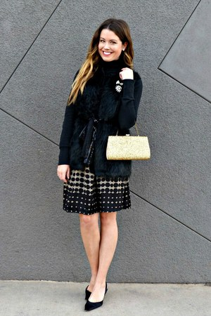 faux fur Nordstrom vest - polka dot Urban Outfitters dress