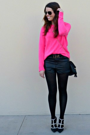 hot pink neon Forever 21 sweater - leather H&M shorts - love Forever 21 belt
