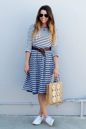 striped Forever 21 dress - sailor Downeast Basics skirt - white Superga sneakers