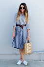 Striped-forever-21-dress-sailor-downeast-basics-skirt-white-superga-sneakers