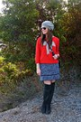 Suede-calvin-klein-boots-tweed-urban-outfitters-dress-beanie-h-m-hat