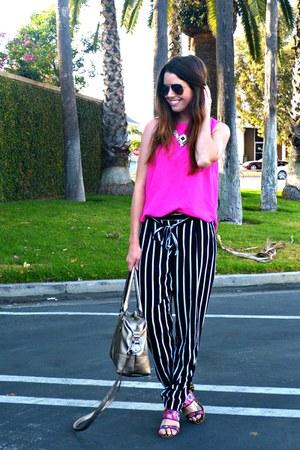 hot pink Forever 21 top - metallic Target bag - floral print Anthropologie heels