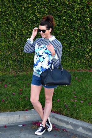printed Peter Pilotto sweatshirt - black Zara bag - denim calvin klein shorts