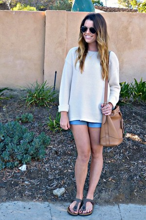 cream Forever 21 sweater - bucket Old Navy bag - denim Forever 21 shorts