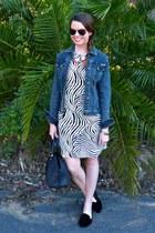 zebra print StyleMint dress - denim Max Studio jacket - bowler Zara bag