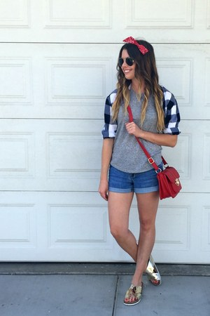 metallic Target sandals - denim Forever 21 sandals - plaid Old Navy shirt