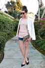 White-forever-21-blazer-beaded-clutch-vintage-bag